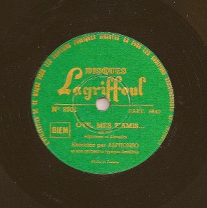 Alphonso et son orchestre typique antillais – Oye, mes z'amis… on 78 rpm record