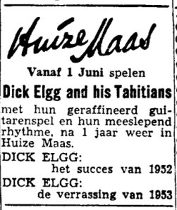 Dick Elgg and his Tahitians at Huize Maas club in Groningen (May 30 1953)